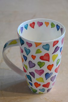 Cup, Coffee Cup, Colorful, Color, Herzchen