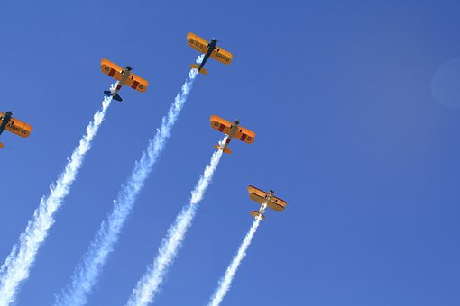 Planes, Air Show, Formation, Flying, Flight, Contrail