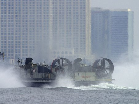 Hovercraft, Float, Glide, Water Surface, Air Cushion