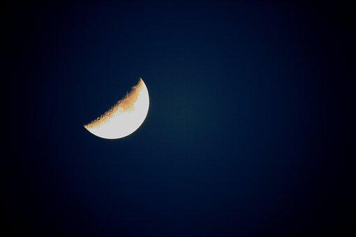 Half, Growing, Moon, Luna, Sky, Lunar, Night Time