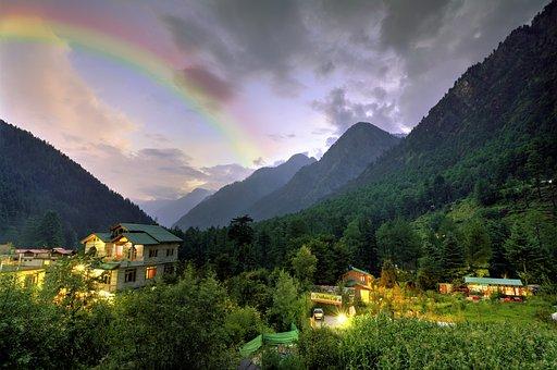 Hill Station, Rainbow, Landscape, Evening, Green