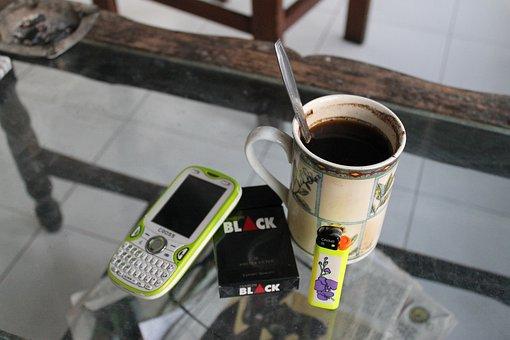 Coffee, Coffee Break, Mobile Phone, Cigarettes, Lighter