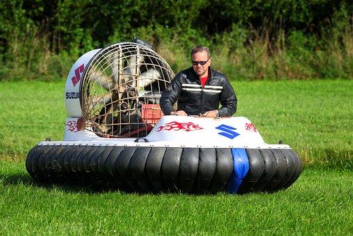 Hovercraft, Grass, Man, Sport
