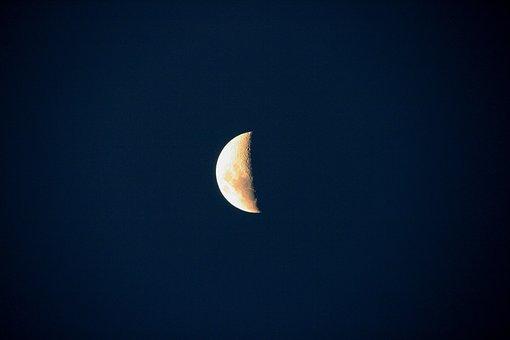 Moon, Half, Faint, Sky, Dusk, Night