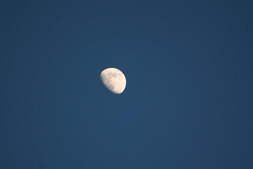 Moon, Half Moon, Sky, Moonlight, Nature