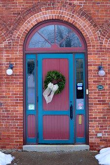 Entrance, Door, Brick, Building, Architecture, Home