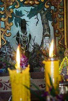 Buddhist Temple, Candles, Flame, Temple, Religion