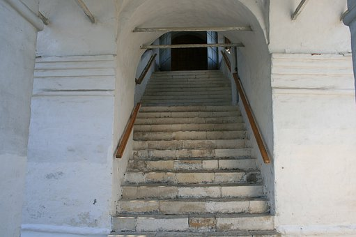 Staircase, Steps, Headrailings, White Wall, Building