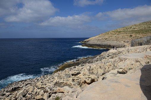 Malta, Gozo, Sea, Mediterranean, Blue, Rock, Coast