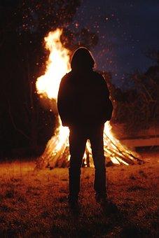 Bonfire, Fire, Flame, Dark, Orange, Silhouette, Blaze