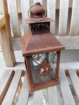 Windlight, Lamp, Weatherproof, Decorated, Iron