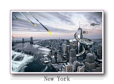 New York, Waterfall, Dream, Surreal, Usa, City