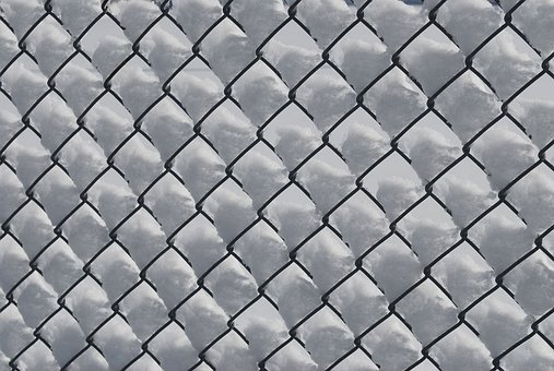 Snow, Fence, Chain, Link, Blown, Drifting