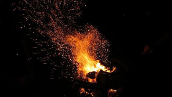Fire, Fireplace, Fire Pit, Dark, Night, Black, Flame