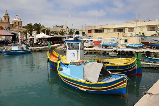 Malta, Gozo, Port, Boats, Blue, Water, Sea, Coast