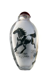 Horse, Vase, Tusche Indian Ink, Drawing, Chinese