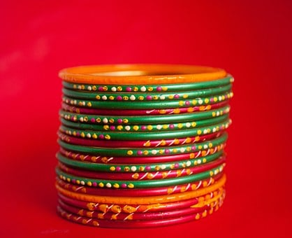 Bangles, Jewelry, Jewels, Colorful, Red Background