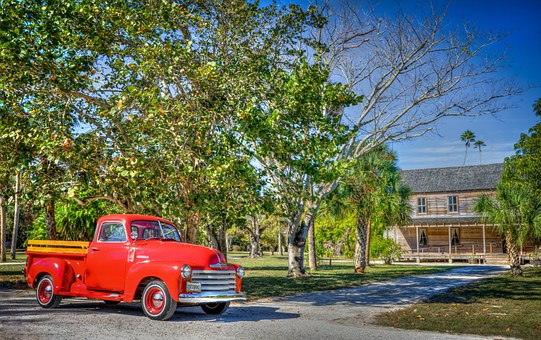 Koreshan State Park, Red 1947 Chevy, Old, Wooden, Cult