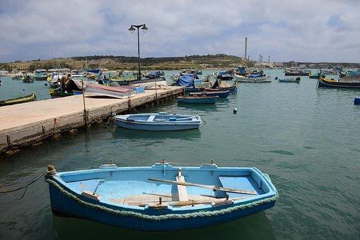 Malta, Gozo, Blue, Boats, Sea, Water, Coast, Port