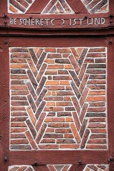 Building, Home, Truss, Pattern, Masonry, Inscription