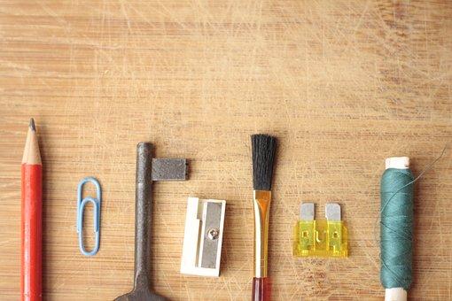 Pen, Key, Wooden, Background, Desk, Orange Desk