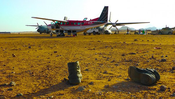 Caravan, Military Boots, Chad, Tibesti Mountains, Plane