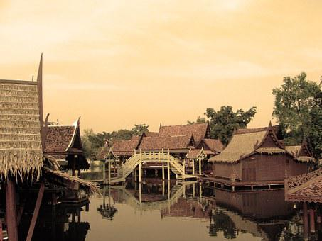 Houses, Thailand, River, Floating, Rural, Traditional
