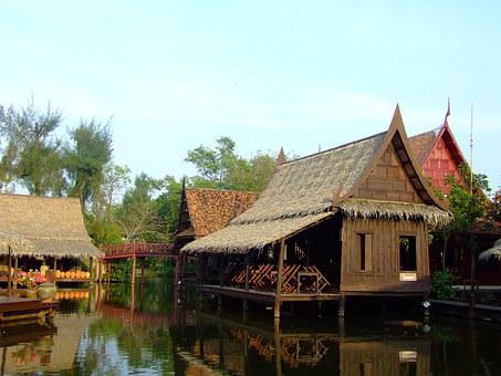 Houses, Wooden, Thailand, Thai, River, Asian, Floating