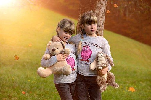 Children, Girl, Blond, Stuffed Animals, Autumn, Evening
