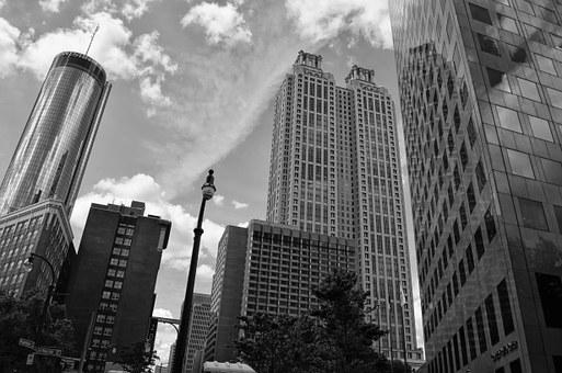 Atlanta, City, Urban, Architecture, White, Black