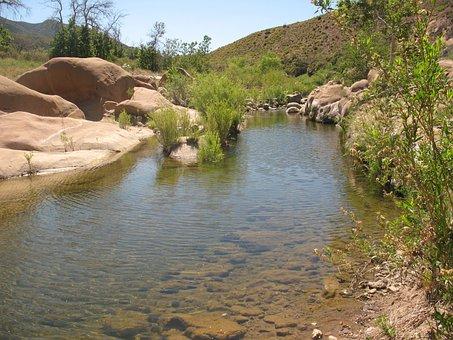 Creek, Sespe, Wilderness, Desert, Harsh, Oasis, Rocks