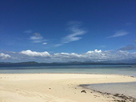 Sandy Beach, Palawan, Tropical, Beach, Island, Blue