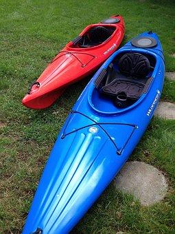 Kayak, Boat, Red, Blue, Sport, Kayaking, Canoe, Paddle