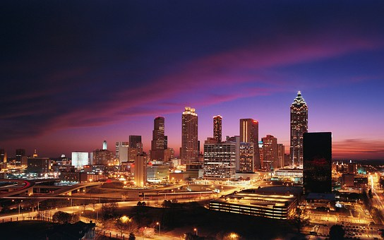 Atlanta, City, Downtown, Night, Lights