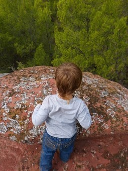Child, Rock, Abyss, Forest, Mountain, View, Scalar