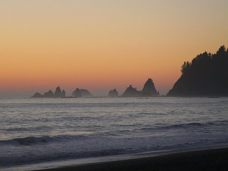 Sea Stacks, Sunset, Washington, Ocean, Sea, Beach