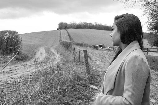 Countryside, Girl, Blackwhite, Outdoor, Woman