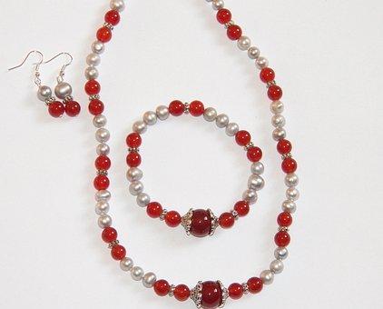 Red Carnelian, Necklace, Bracelet, Jewelry, Woman, Gem