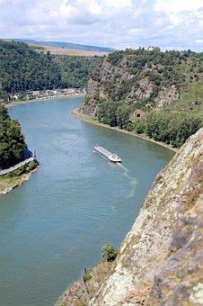 Loreley, Abyss, Rhine, Ship, Steep, Water, Landscape