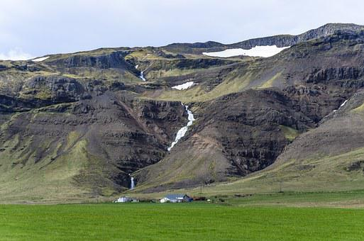 Iceland, Rock, Black Stone, Water, Cliff, Geology