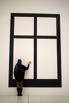 Art, Museum, Window, Visitors, See, Headscarf