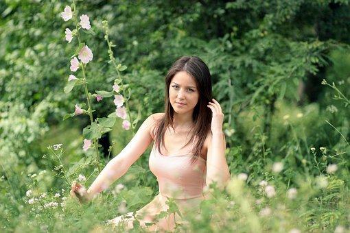 Girl, Nature, Dress, Beauty, Blonde, Blue Eyes