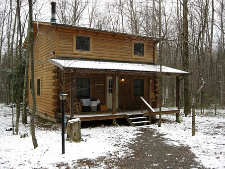 Log, West Virginia, Winter, Cabin, Cold, Nature