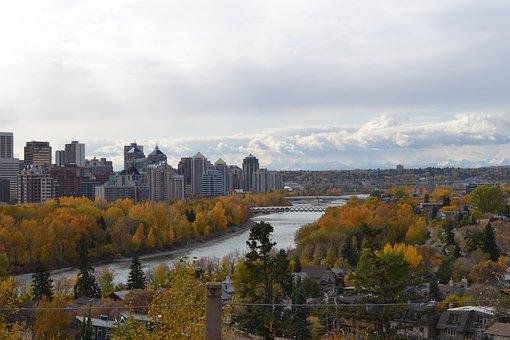 Calgary, Rockies, Canada, River, Autumn, City