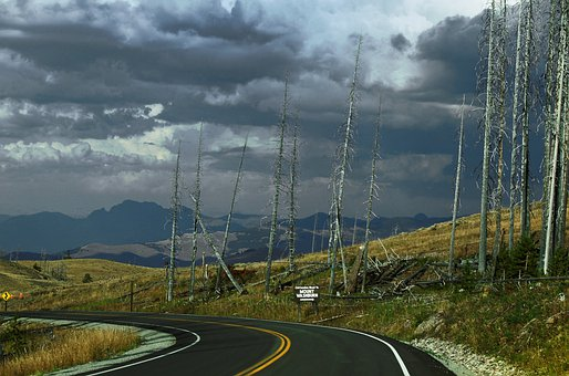 Thunderstorm, Weather, Clouds, Road, Mountains, Dead