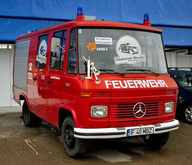 Fire Engine, Mercedes Benz, Oldtimer, Expo, Old, Retro
