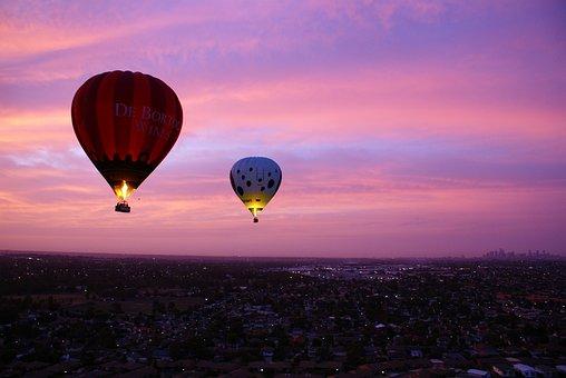 Hot Air Balloon, Pink, Purple, Sky, Fly, Air