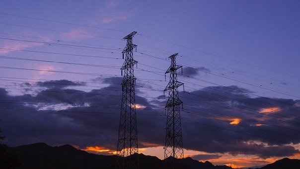 Electrical, Wires, Grid, Power, Powerlines, Sky, Sunset