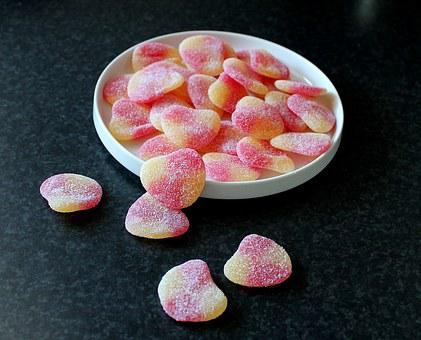 Candy, Hearts, Sugar, Red, Candy Bowl, Sweet, Dining