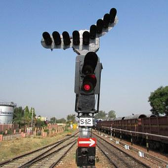 Railway Signal, Hospet, India, Train, Track